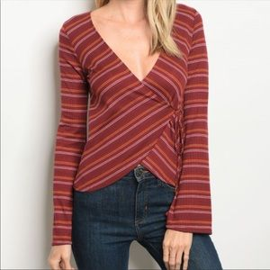 Tops - Just Arrived! Maroon and Yellow Striped Top